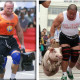 strongman doen farmers walk